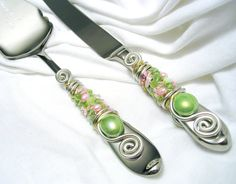 Cake serving set green