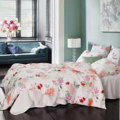 Rosa By Schlossberg Floral Bedding w/ a variety of roses w/ geraniums in peach, red & fuschia along w/ blueberries scattered on a white ground - Duvet Cover, Pillow Shams in cotton. Super King Duvet Covers, Full Duvet Cover, Cover Pillow, Pillow Shams, Vevey, Floral Bedding, Linen Bedding, Bed Linen, Living Colors