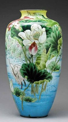 Japanese Ginbari Cloisonne Enamel Vase by Kumeno Teitaro (Nagoya, 1863-1939), the body of tapering ovoid form with a short slightly flared neck, covered overall in translucent and colored enamels with a lone heron wading in a pond surrounded by vibrant lotus blossoms, the largest blossoms slightly raised, the rims silvered