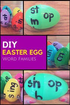 DIY Easter Egg Word Family Game Rhyming Activities, Kindergarten Activities, Easter Activities, Phonics Games, Kindergarten Reading, Indoor Activities, Kindergarten Classroom, Summer Activities, Reading