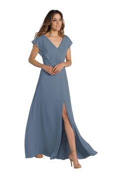 A floor-length, sleeved chiffon bridesmaid dress with cutout back in six colors. Affordable designer bridesmaid dresses to buy or rent at Vow To Be Chic. Slate Blue Bridesmaid Dresses, Dusty Blue Dress, Blue Bridesmaids, Wedding Bridesmaid Dresses, Chiffon Dresses With Sleeves, Bridesmaid Dresses With Sleeves, Designer Bridesmaid Dresses, Bride Dresses, Prom Dresses