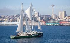 """""""The Rainbow Warrior III sails through Puget Sound to its first port on a West Coast tour of the United States connecting people who care about the earth and kickstarting the next wave of © Maxwell Balmain"""" Rainbow Warrior, West Coast, Sailing Ships, Balmain, Around The Worlds, United States, Waves, Boat, Australia"""