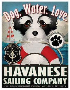 Havanese Sailing Company Original Art Print by DogsIncorporated, $29.00