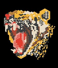 "Icelandic graphic designer and illustrator Siggi Eggertsson creates elaborate illustrations using basic geometric shapes. ""Siggi has a unique and complete visual identity; Geometric Graphic Design, Geometric Designs, Geometric Shapes, Geometric Tiger, Web Design, Design Art, Print Design, Flat Design, Design Elements"