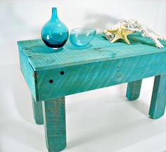 Rustic Reclaimed Painted Wood Coffee Table Turquoise Primitive Hand Made Cottage Beach FREE Shipping. $196.00, via Etsy.