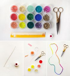Weekend project: making colorful beaded necklaces.