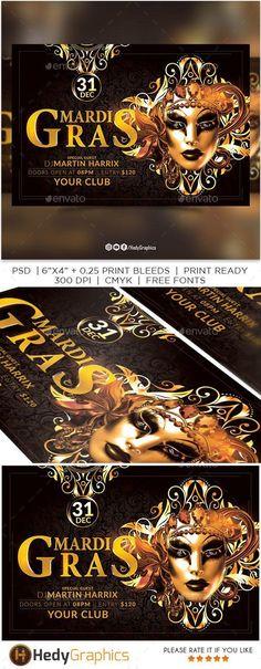 Mardi Gras Flyer #DesignSets #sets #flyer #designs #PrintTemplates #event #design #GraphicResources #GraphicDesign #FlyerTemplates #PrintDesign #FlyerDesign #DesignResources #collections #EventFlyers #template #graphics #Envato Flyer Design Inspiration, Event Flyer Templates, Event Flyers, Print Fonts, Mardi Gras, Club Parties, Mask Party, Party Flyer, Print Templates