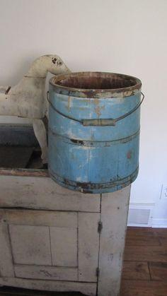 Large 19th C Early Old Primitive Blue Wooden Shaker Bucket Firkin Original Paint   eBay