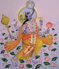 """Varaha (Sanskrit: वराह, """"boar"""") is the avatar of the Hindu god Vishnu in the form of a boar Krishna Art, Krishna Images, Lord Krishna, Krishna Lila, Baby Krishna, Ganesha Art, Pichwai Paintings, Indian Art Paintings, Om Namah Shivaya"""