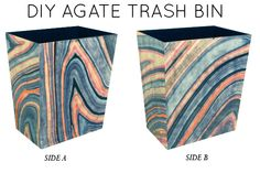 DIY Agate Trash Bin via Little Green Notebook TUTORIAL!  Get Marbled Paper Here!  http://www.papermojo.com/Pirouette-Marbled-Paper--Gray-Apricot-Raspberry_p_2948.html