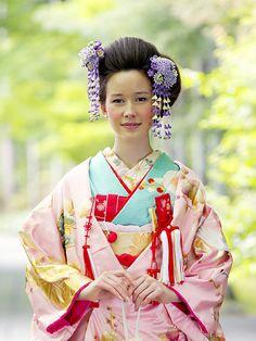 Beautiful Pink Uchikake with Plum Blossom Worn Over a Contrasing Sky Blue Furiso. Beautiful Pink U Traditional Japanese Kimono, Traditional Fashion, Traditional Dresses, Japanese Wedding Kimono, Geisha Hair, Kabuki Costume, Kimono Japan, Japanese Costume, Oriental Fashion