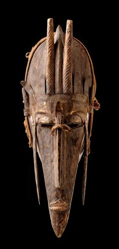 Africa  Mask kore from the Marka people of Mali Wood, punched copper sheet and fiber