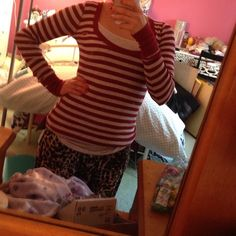 Hollister red and grey striped top Very cute long sleeved shirt Hollister Tops Tees - Long Sleeve