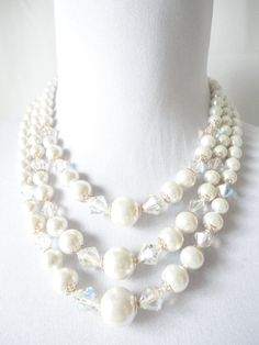 Pearl and Iridescent Bead Multiple 3 strand vintage Necklace, just like the one my great-grandmother passed down to me