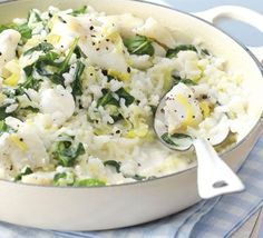 smoked haddock & leek risotto - this is AMAZING! I added extra spinach and peas tho :)