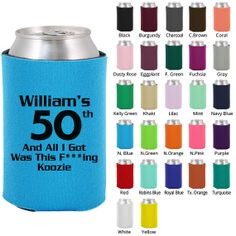Birthday Coozies (Clipart 19151) 50th All I Got Was This Damn Koozie - Custom Birthday Koozies - Personalized Birthday Party Favors
