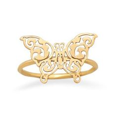 14 Karat Gold Plated Delicate Butterfly Ring