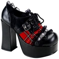 Unknown 4 1/2 Inch Oxfords Black Gothic Shoes Chunky Heel Womens Sexy Shoes Red Plaid