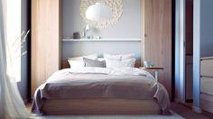 Chambre bois clair et bleu ciel