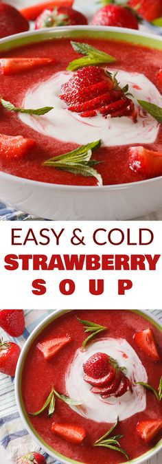 EASY Strawberry Soup is the perfect fresh Summer time meal! This simple recipe uses fresh strawberries and yogurt to make a creamy chilled strawberry soup! Your entire family is going to love this healthy dish!