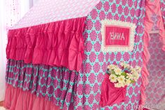 Mix and match a delightful collection of feminine fabrics, and then stitch up a play tent that'll send your little lady to girlie heaven!