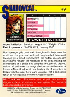 kitty pryde x-men 1991 marvel trading cards