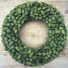 Leaf wreath - love this detail,rolled leaves