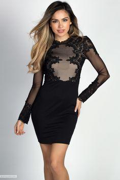 Long Sleeve Little Black Dress with Mesh & Lace Applique Bodice