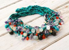 Turquoise Cluster Necklace, Chunky Multi Strand Necklace, Colorful Multi Stone Statement Necklace, Unique One of a Kind Turquoise Necklace Cluster Necklace, Multi Strand Necklace, Necklace Lengths, Purple Mason Jars, Beaded Jewelry, Beaded Bracelets, Red Bouquet Wedding, Glitter Wedding Invitations, Pretty Necklaces