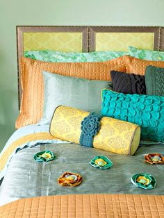 Same idea for this headboard--three matching frames with coordinating fabric.