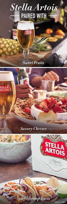 Pairing beer with food is a tradition deeply rooted in our Belgian heritage. On a warm summer evening, no other combo tastes more refreshing. Stella Artois is artfully crafted to enhance the flavors in many different foods - sweet - like pineapple, spicy - like jerk shrimp, and savory - like a plate of artisanal cheeses from around the globe.