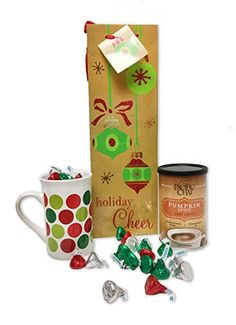 Holiday Christmas Beverage Gift Set Containing New Flavor Pumpkin Spice Chai Latte Drink by Pacific Chai 10 oz. canister, Polka Dot Ceramic Coffee Mug, Hershey Kisses contained in Gift Bag *** See this great product.