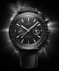 """The new Omega Speedmaster """"Dark Side of the Moon"""" just surfaced and before you ask, nope, that's not a DLC/PVD coating you're looking at. Better. That's a 44mm case of black ceramic. Pushers and all. Space-Age materials for a Space-Age watch. Keep an eye on this post for more details when it makes its official debut at Baselworld 2013. Perpetuelle"""