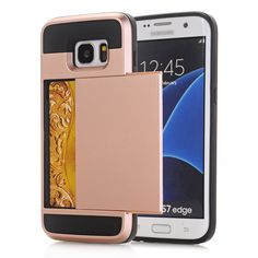 Armor Slide Credit Card Case For Samsung Galaxy S3 S4 S5 S6 S7 edge Slot Wallet Shock Proof Skin Hard Plastic+TPU Cover Coque