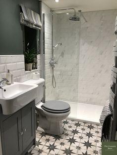 The Country Barn Small Toilet Room, Small Bathroom With Shower, Bathroom Design Small, Bathroom Interior Design, Metro Tiles Bathroom, Marble Tile Bathroom, Bathroom Floor Tiles, Bathroom Vanities, Bathroom Ideas