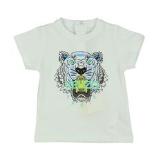 Baby Boys White Tiger Print T-Shirt. Available now at www.chocolateclothing.co.uk