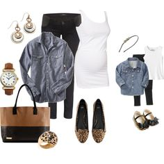 Mommy & Me: Chambray, Black and Leopard by fashionista88 on Polyvore