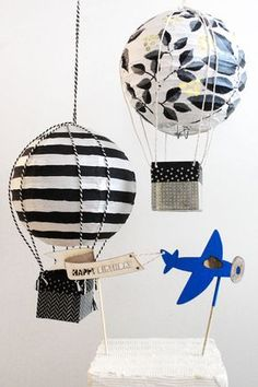 DIY hot air balloon party decor.  Perfect for a kid's room or baby nursery.