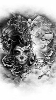 Ténèbres en moi, You are in the right place about Tattoo Pattern dots Here we offer you the most beautiful pictures about the japanese Tattoo Pattern you are looking for. Skull Rose Tattoos, Skull Girl Tattoo, Leg Tattoos, Body Art Tattoos, Girl Tattoos, Tattoos For Guys, Sleeve Tattoos, Tattoo Ink, Tattoo Design Drawings