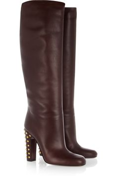 Gucci|Studded leather knee boots|NET-A-PORTER.COM