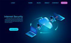 Internet security with data transfer inf. Free Cloud, Flat Design, Creative Design, Vector Free, Internet, Digital, Illustration, Illustrations, Apartment Design
