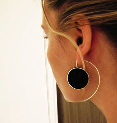 Long Sterling Silver Earrings, Big Statement Silver Resin Earrings - Big Oh Earrings by IvanaartJewellery on Etsy