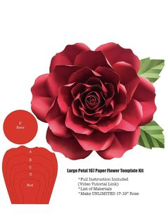 Make an unlimited Large Paper Flowers using this Premium Template from The Crafty Sagittarius is part of Paper flower template - Paper Flower Patterns, Paper Flowers Craft, Large Paper Flowers, Paper Flower Wall, Paper Flower Tutorial, Paper Flower Backdrop, Giant Paper Flowers, Paper Roses, Flower Crafts