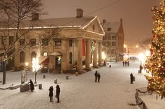 A snowy and peaceful Quincy Market in Boston, Massachusetts.