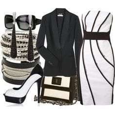 Shoes not for me, too high, but the rest I like.  Black.   #women's fashion. #style
