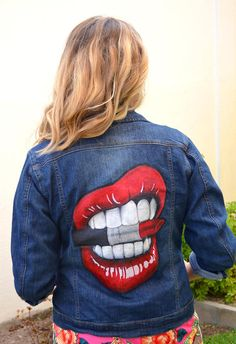Lips biting Mac Lipstick Custom Denim Jacket Hand-painted