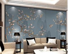 Chinoiserie Vine Plum Flower Wallpaper, Handpainted Vivid Birds and Flowers with Mountains Home Decor Wall Murals for Living or Dinning Room Blue Grey Wallpaper, Zen Wallpaper, Chinese Wallpaper, Brick Wallpaper, Paper Wallpaper, Flower Wallpaper, Adhesive Wallpaper, Wall Murals Bedroom, 3d Wall Murals