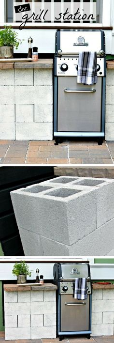 Check out how to build a DIY grill station from cinder blocks in your backyard @istandarddesign