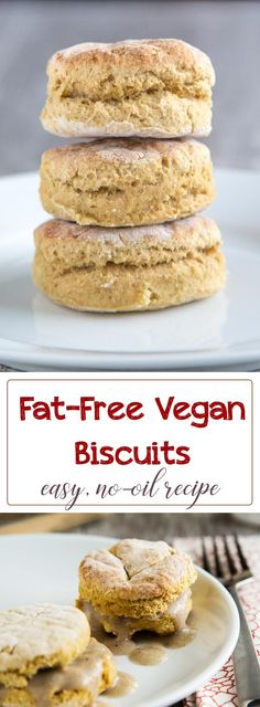 These delicious fat-free vegan biscuits get their moisture from potato, not oil. Each biscuit has only 85 calories and less than a half gram of fat.