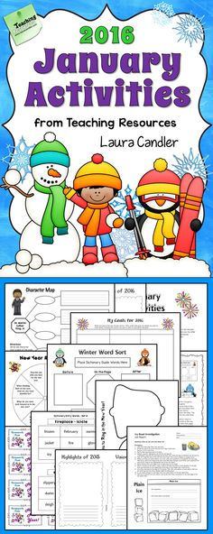 January 2016 Activities from Laura Candler's Teaching Resources - Ready-to-use engaging games and lessons for winter and January holidays. Includes more than 25 pages of directions, printables, and answer keys. $ #LauraCandler